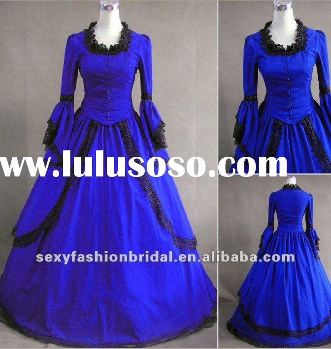 vintage style long sleeve bell sleeves bright blue Victorian style wedding dress