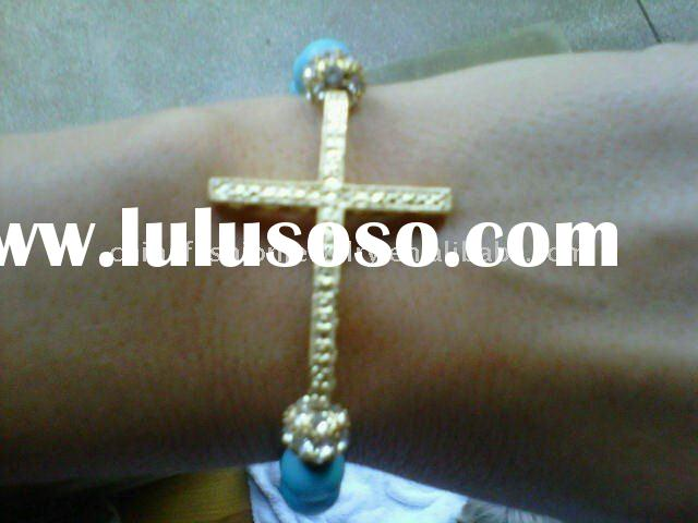 2011 Hot Sales Sparkling Crystal Sideways Cross Bracelet