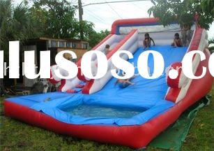 2011 hot and newest blue red white inflatable water slide with pool