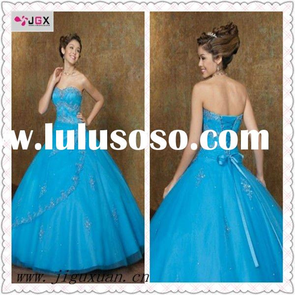 2012 Ball Gown Long Taffeta Royal Blue Wedding Dress