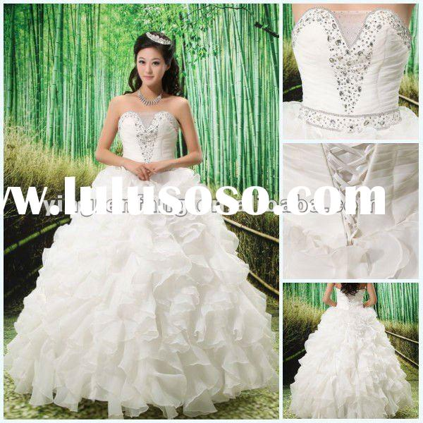 2012 Kingly Sleeveless Tulle Beaded Ball Gown Corset Top Wedding Dress