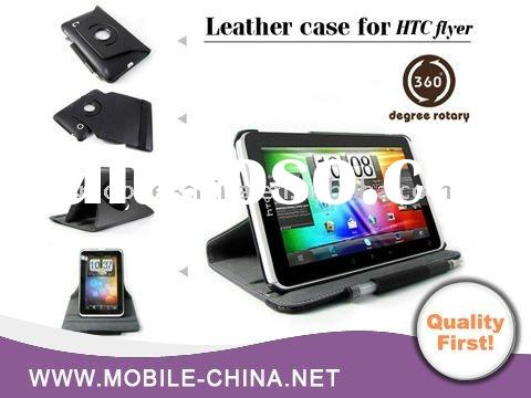 360 Degree Rotating Stand Leather Case For HTC Flyer Tablet Horizontal and Vertical