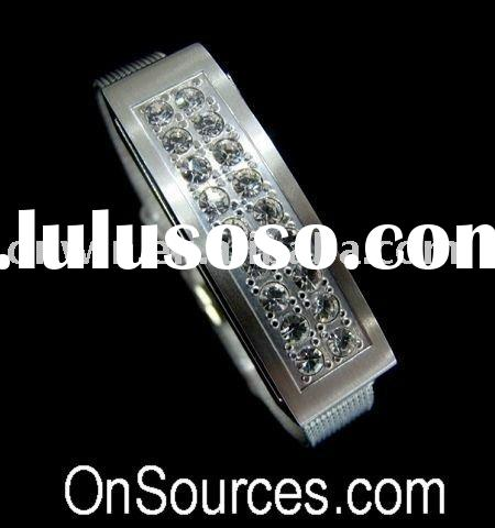 4GB Stainless Steel USB Flash Pen Drive Bracelet w/ Bling Stones for her