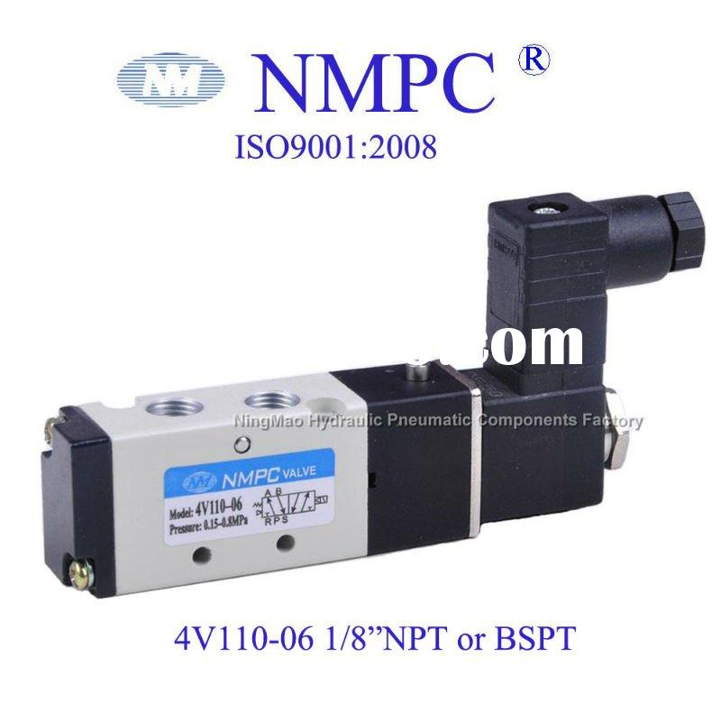 "5 Way 4V110-06 Solenoid Valve/ Pneumatic valve/NPT or BSPT 1/8""/ air,gas/24V,12V DC or110V,220V"