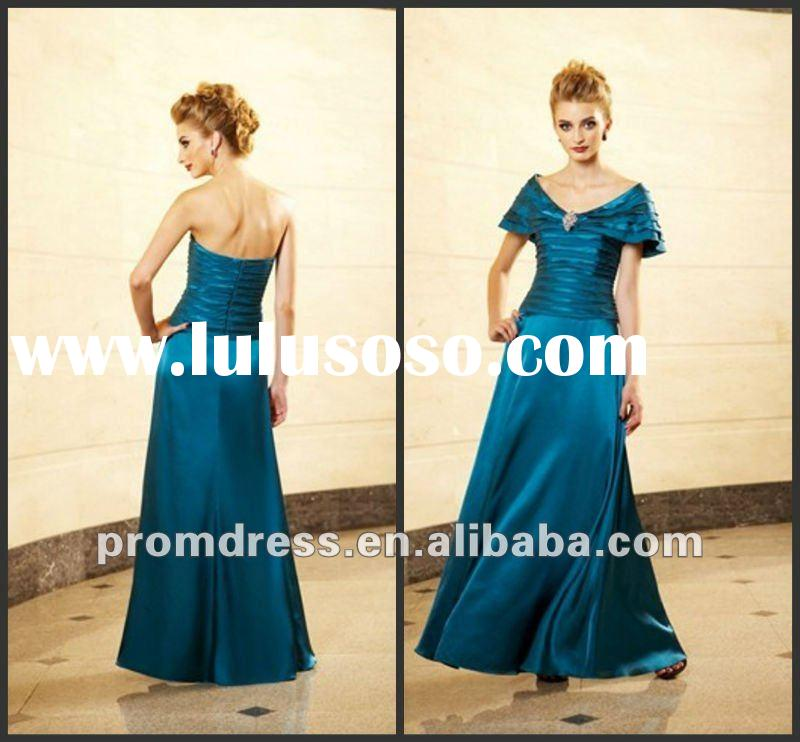 A-Line MB-086 Strapless Floor Length Satin mother of the bride lace tea length dresses