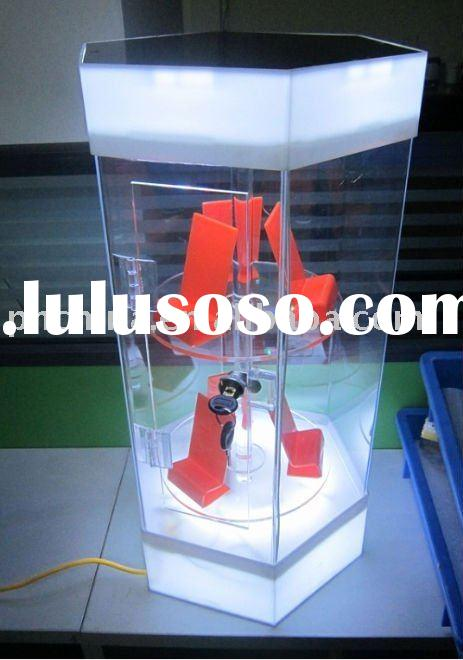 Acrylic Rotating Mobile Phone Display Cabinet; Acrylic Display Cabinet with LED Light and Lock