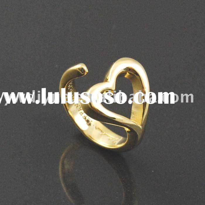 Beautiful 18 K Plated Gold Unclosed Ring Delicate Heart