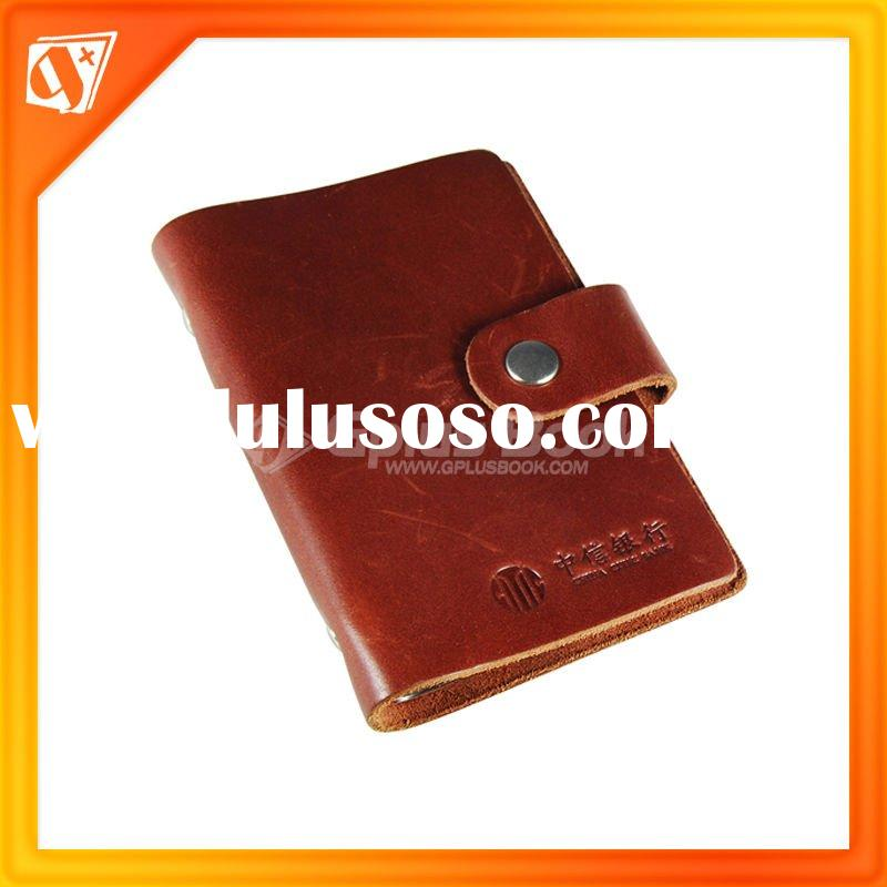 Brown genuine leather X401Business Card Clip/holder