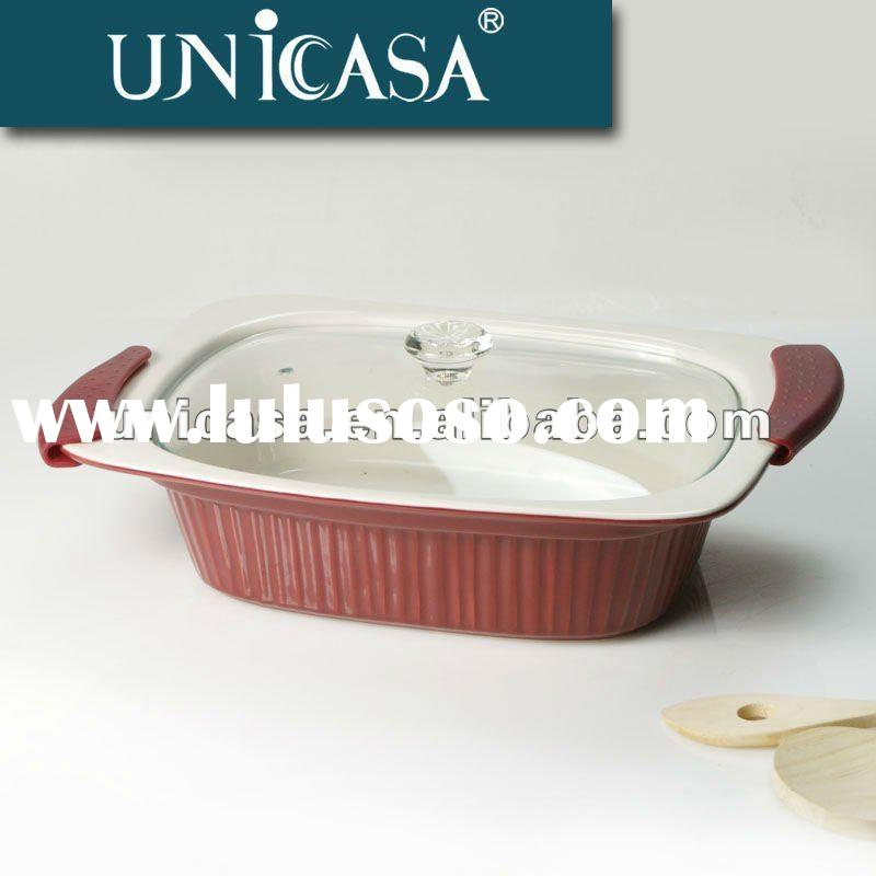Ceramic Casserole Dish with Glass Lid
