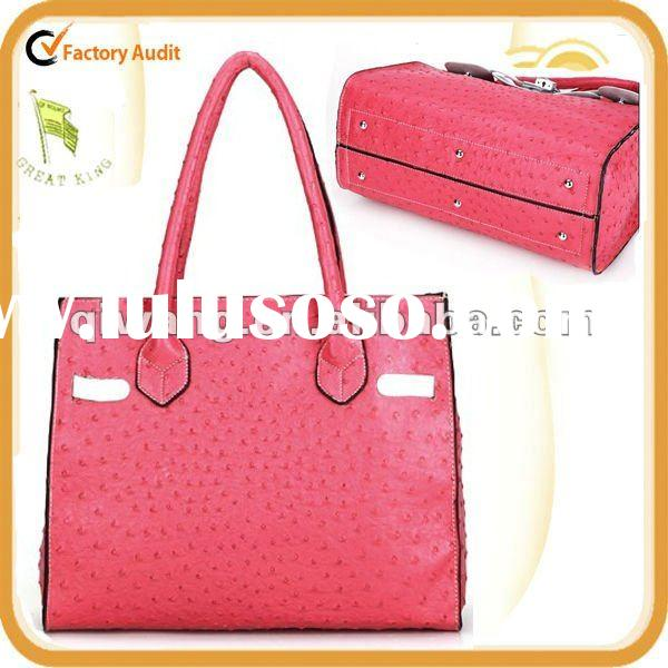 China good quality ostrich leather handbag with magic colors