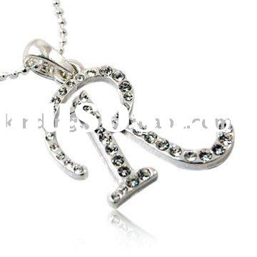 Clear Crystal Name Initial Letter Pendant Necklace Fashion Jewelry -- Many Letters To Choose From JN