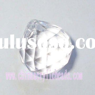 Crystal round faceted jewelry drop, clear acrylic drop, acrylic pendant beads