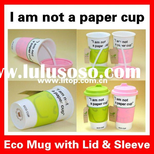 "Custom LOGO printed Ceramic Eco Cup Coffee Mug with Silicon Lid & Sleeve ""I am not a paper"