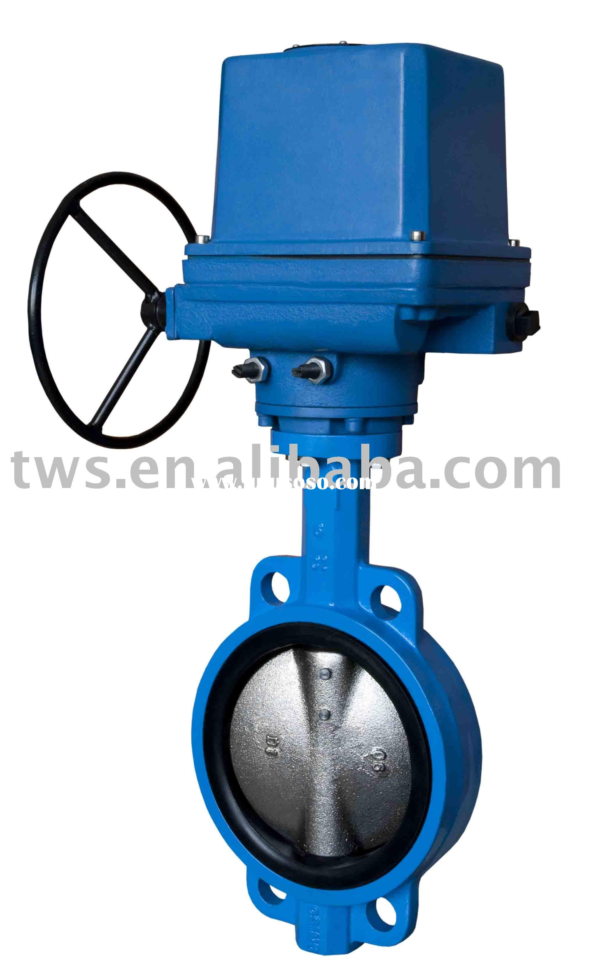 Electric actuator wafer type butterfly valve