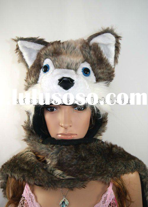 FLUFFY FUR ANIME FUNNY FACES HAT WITH PAWS