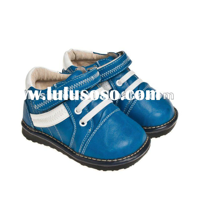 Fashion autumn infant leather squeaky baby shoes Blue SQ-A11203-BL