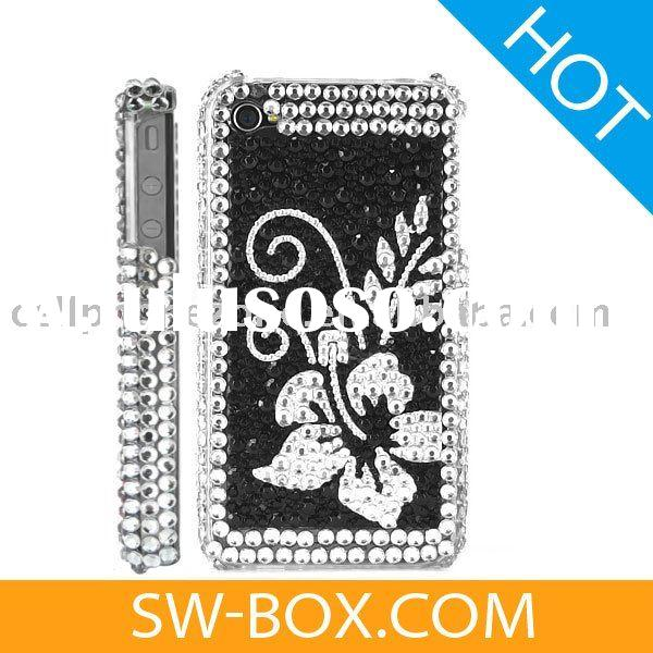 Flower Diamond Rhinestone Bling Hard Case for iPhone 4 (Black / Silver) /cell phone case