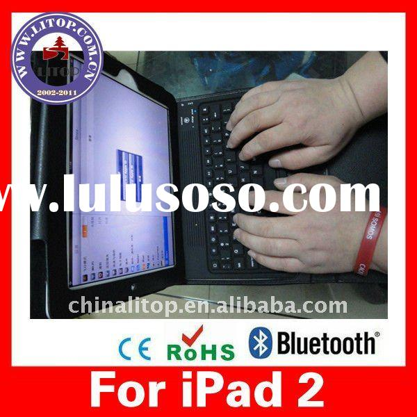 For Apple iPad 2 Bluetooth Wireless QWERTY Keyboard with Black Leather Folio Guard Protective Cover