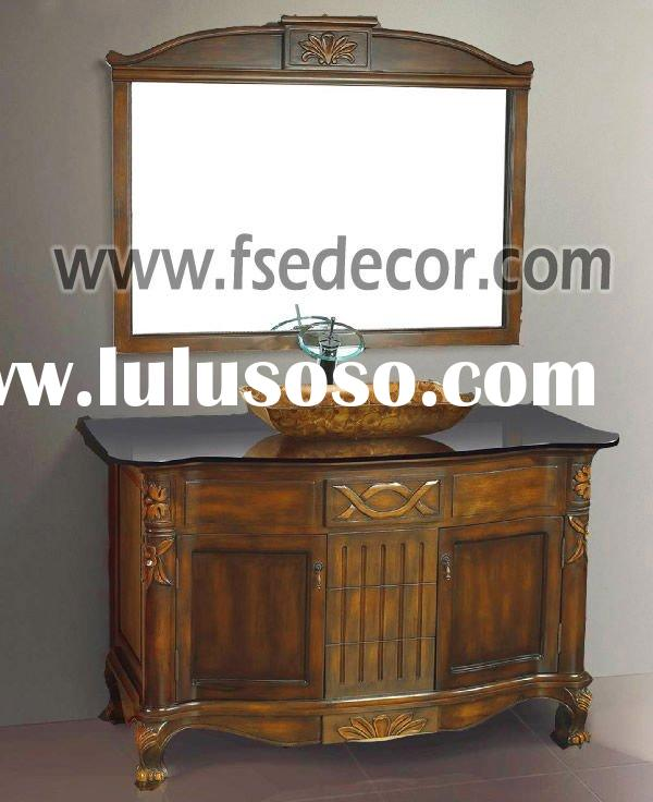 Free Standing Glass Sink Bathroom Antique Wood Furniture