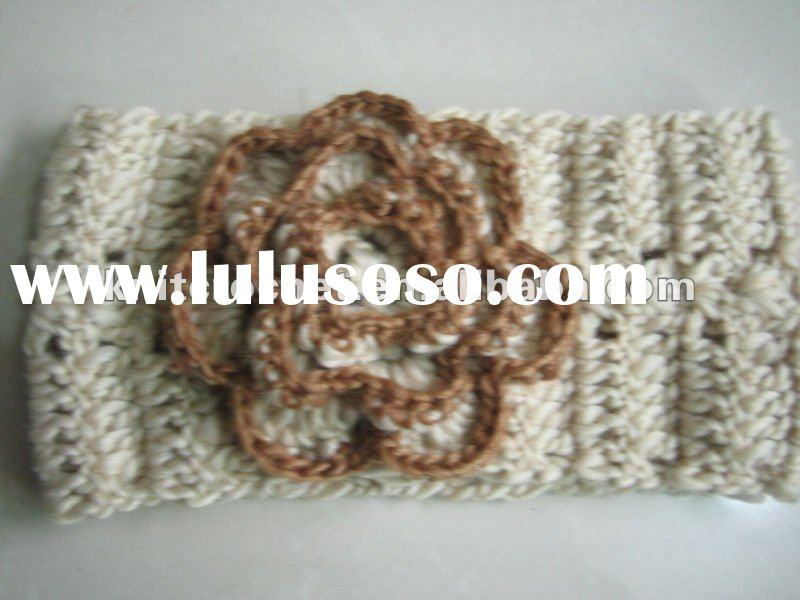 Handmade Hand Knit Crochet Headband Headwrap Neckwarmer Earwarmer with Big Cute Crochet Flower