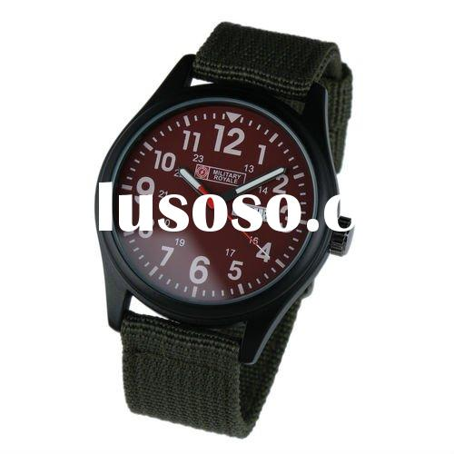 Men's Military Red Dial Green Fabric Strap Swiss Design Date Sport Army Watch MR058
