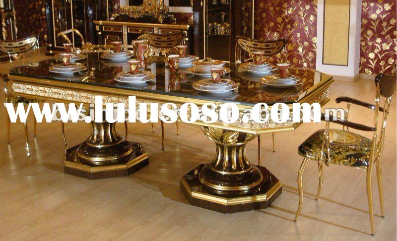 NEW ITEM-European Classical dining room furniture set, hand painted, 24K gold plated, MOQ:1SET(B6018