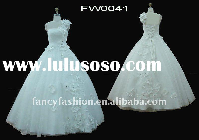 New 2012! Modern Tulle Ivory Wedding Dress with Stunning Beaded Lace FW0041
