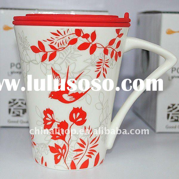New Eco Friendly Procelain Thermal Travel Tea Cup and Coffee Mug with Handle and Silicone Lid &