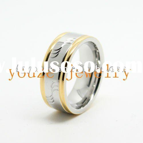 New Style High Quality Gold and Silver Mixed Color Carved 316 Stainless Steel Rings