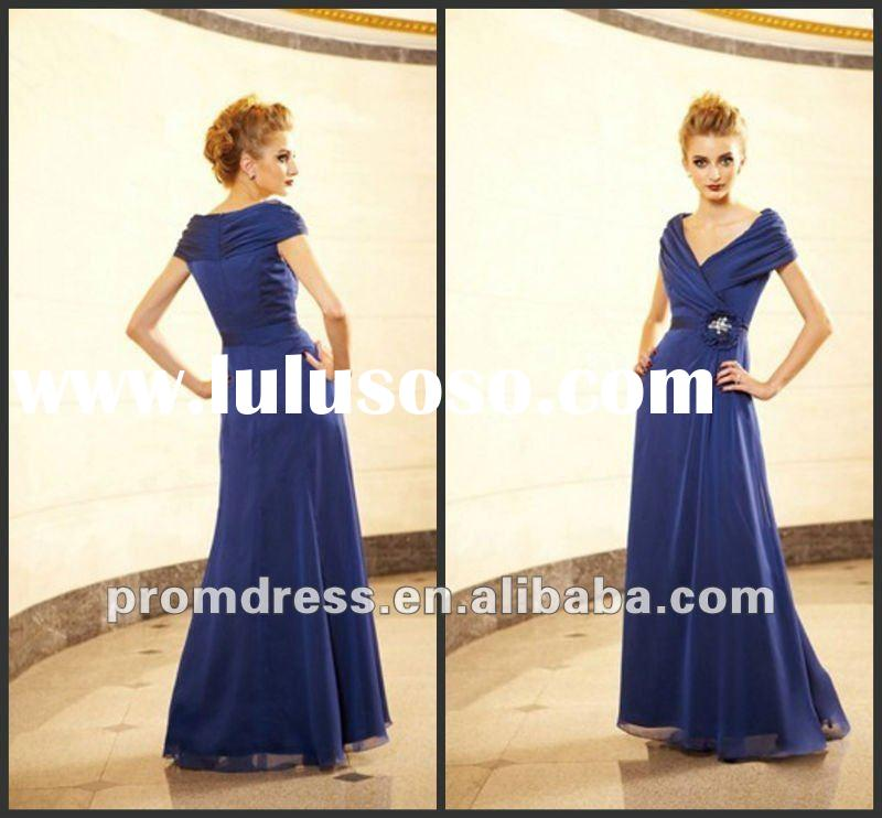 New Style MB-091 Cap Sleeve Beaded Satin tea length mother of the bride dresses with sleeve