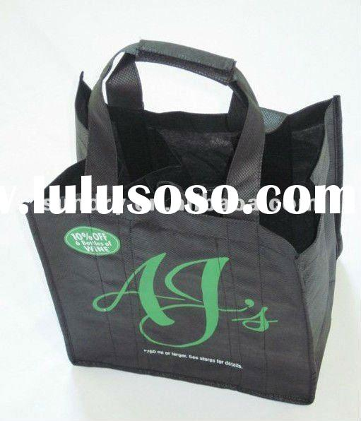 New product 2012 wine bag with dividers wine bottle gift bag pattern non woven bag