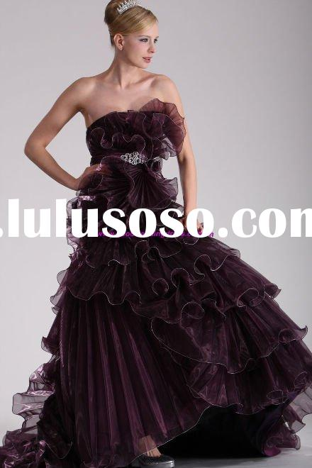 New style organza strapless ball gown prom dresses 2011