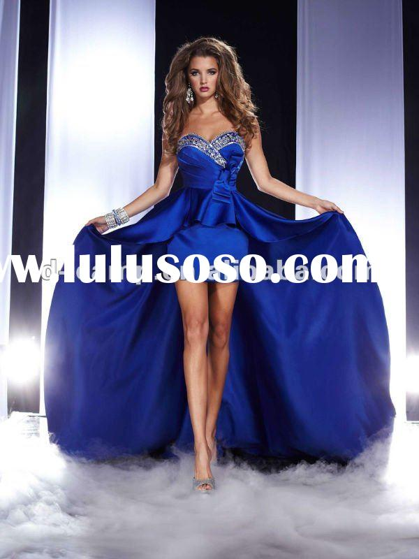 OC-227 2012 fashion design train prom dress short front long back