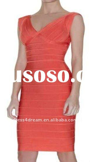 Orange Bandage dress with V-neckline and low back legerity