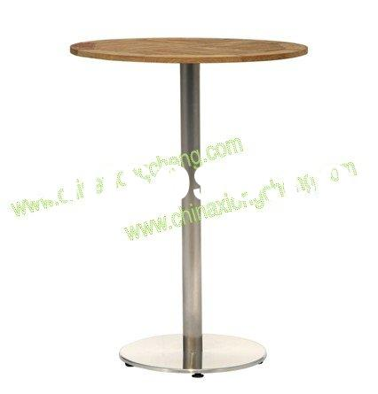 Outdoor high leg teak top and stainless steel coffee table