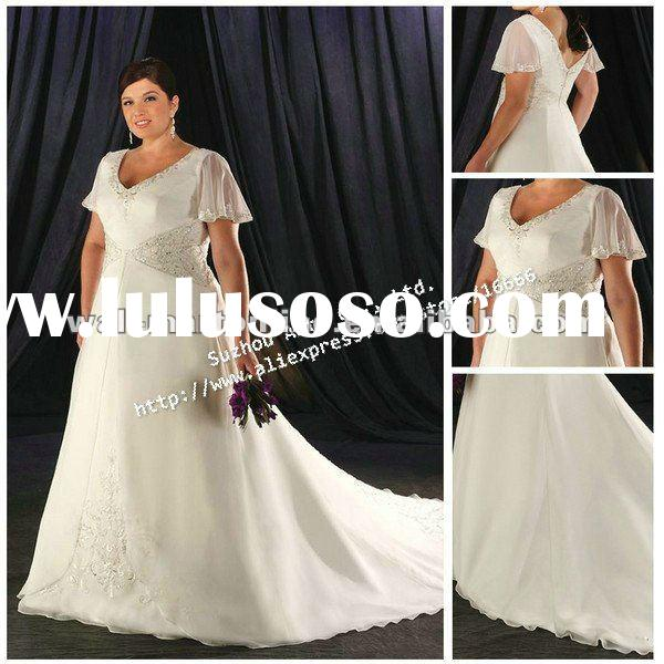 PW0042 Royal Train Short Sleeve Bridal White Wedding Dresses For Pregnant Women
