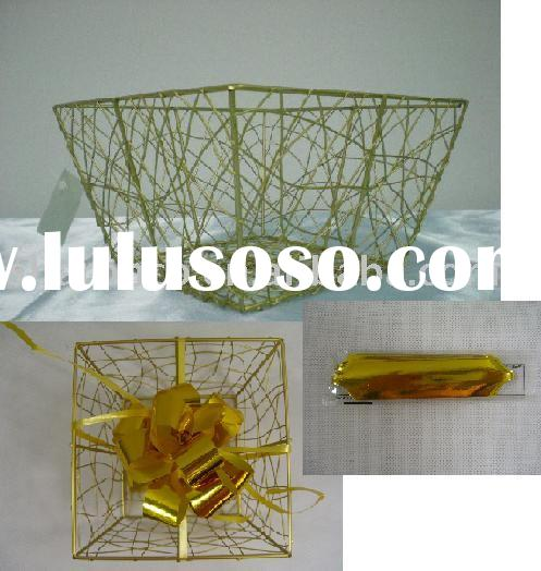 Packaging basket,wire basket,gift basket,bead basket,basketry,metal basket,bow basket made in wire p