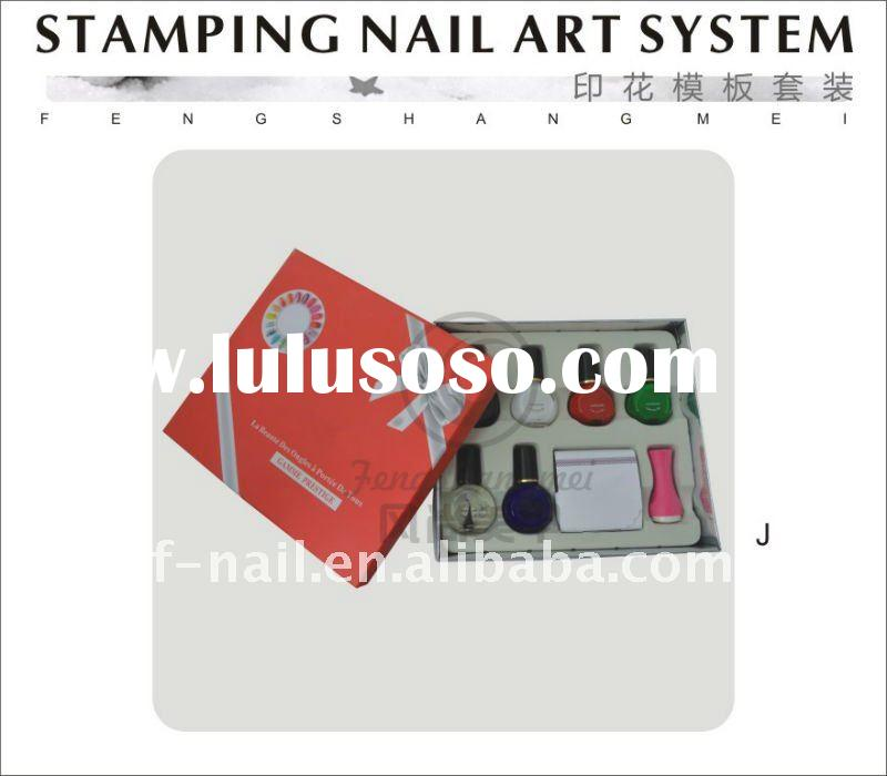 Stamping Nail Art Kit (one stamper+one scrapper+ 4 image plates+3 bottels nail polish)