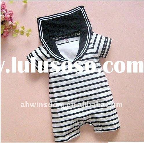 The newborn clothes/baby joined bodies clothes/navy sailors install/the black and white stripe cloth