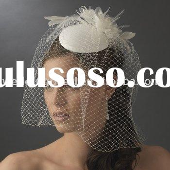 WEDDING FEATHER FASCINATORS WITH CAGE VEIL WDF004