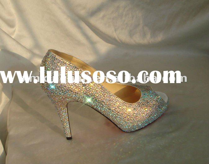XPS206 Fashion peep toe high heel crystal wedding shoes with red sole