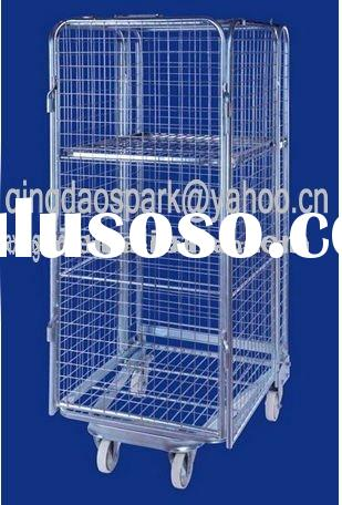 collapsible rolling mesh cage trolley