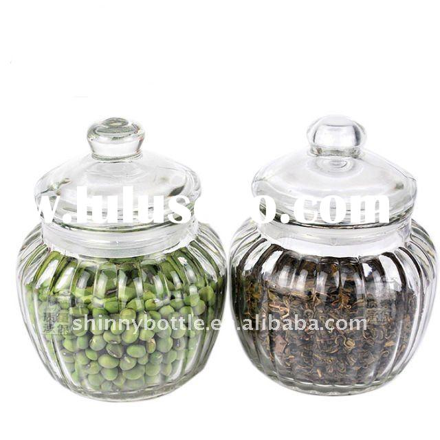decorative transparent glass storage jars