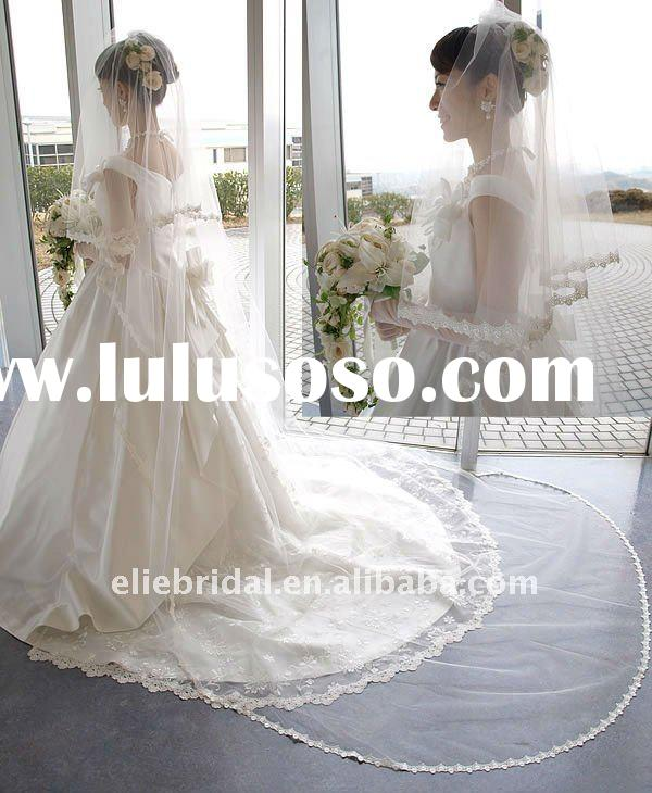 double layer lace edeg cathedral wedding veil