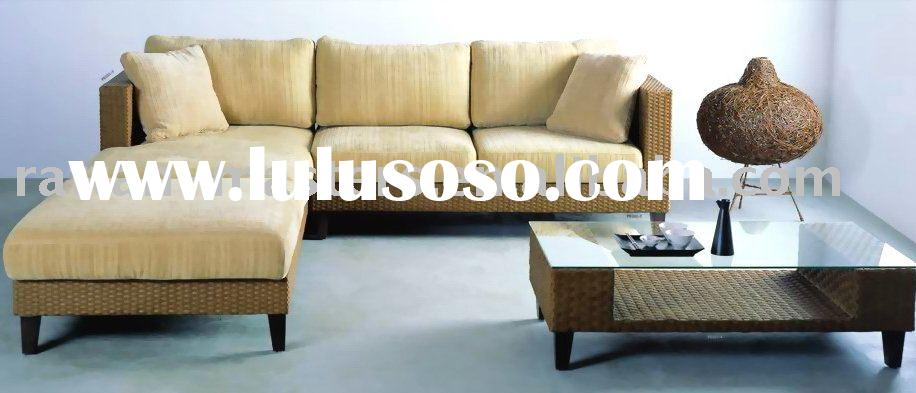 hot sale fashion new design low carbon PE201 natural rattan sofa set