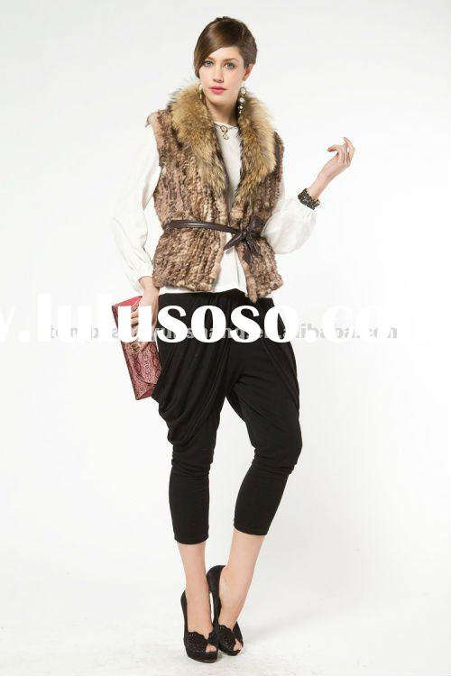 knit genuine rex rabbit Fur Vest/Waistcoat with fox fur collar 2012 lady fashion