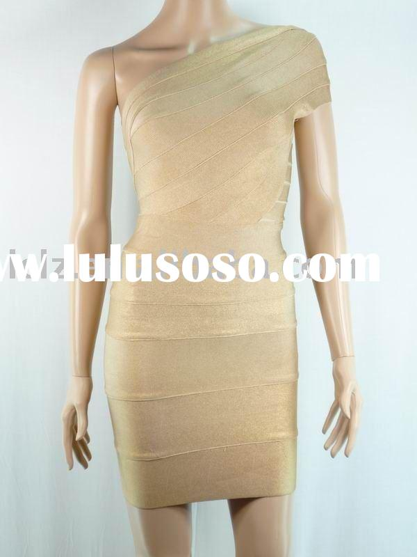 lady nude color one shoulder dinner party dress/wear/gown H107