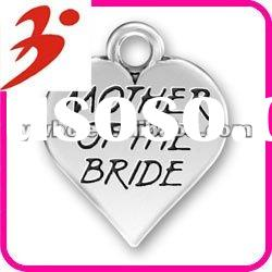 popular alloy antisilver plated mother of the bride heart charm for mother's day gift(185155