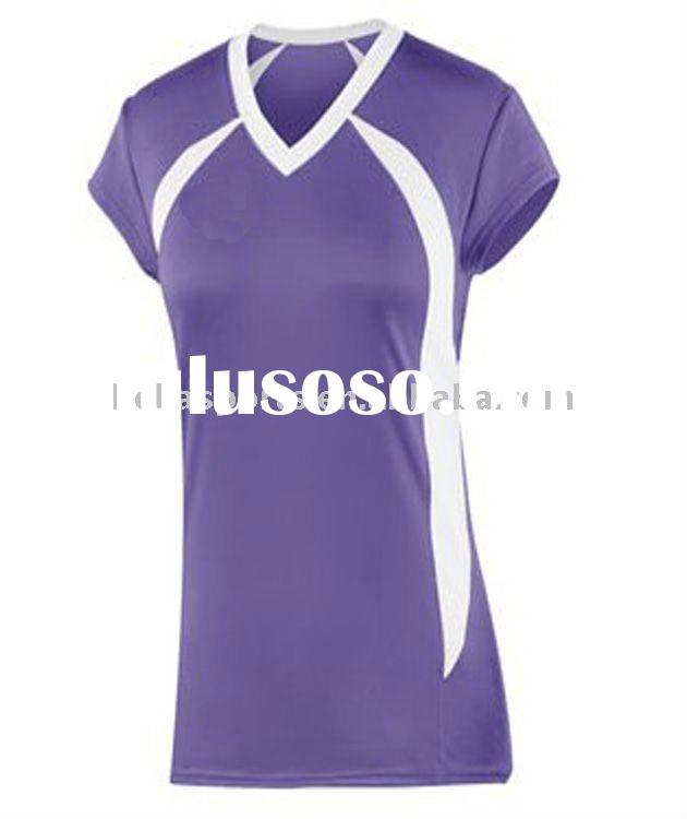 purple sports jerseys with white v neck,volleyball uniform girls