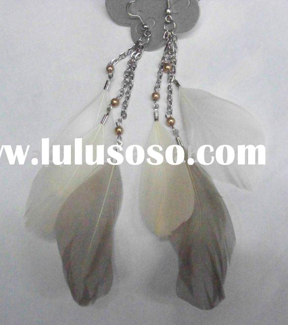silver dangle feather earrings